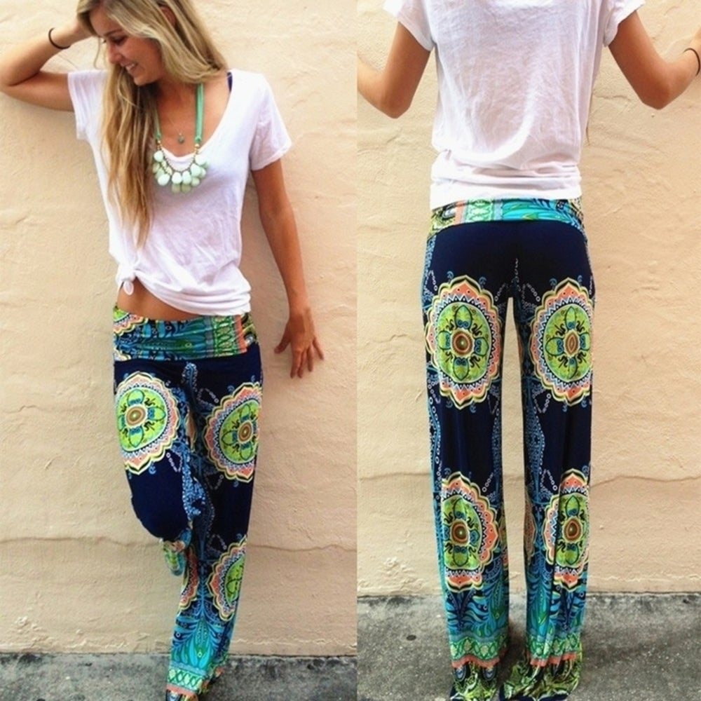 Womens Fashion Soft Floral Printed Pants Loose Elastic High Waist Wide Leg Long Casual Pants Trousers D275 - Green