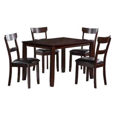 Five Piece Dining Set with 1 Table and 4 Leatherette Padded Chairs, Brown