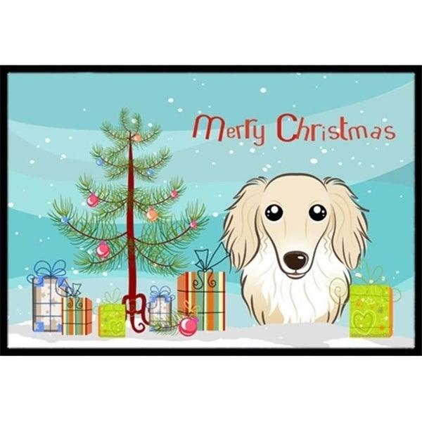 Carolines Treasures BB1584MAT Christmas Tree & Longhair Creme Dachshund Indoor or Outdoor Mat 18 x 27