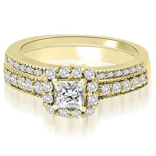1.09 cttw. 14K Yellow Gold Halo Princess And Round Diamond Bridal Set