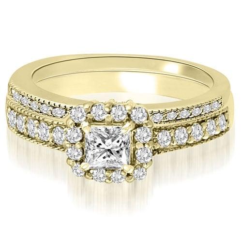 1.34 cttw. 14K Yellow Gold Halo Princess And Round Diamond Bridal Set