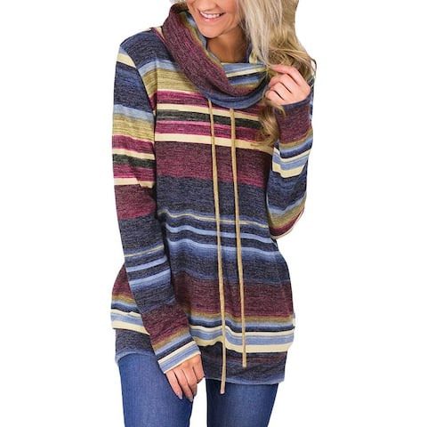 Women's New Sweater Loose Pile Of Collar Striped Long Sleeves