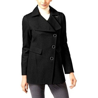 Kenneth Cole Asymmetrical-Button Coat Black Small