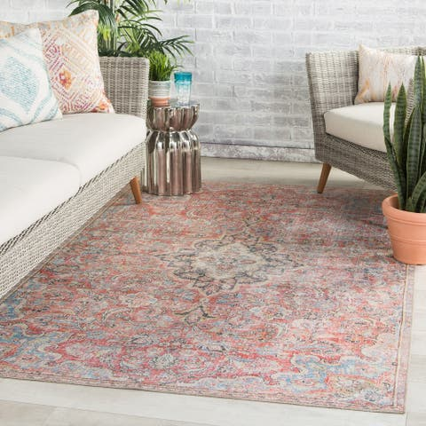 Gracewood Hollow Eddo Indoor/Outdoor Red and Light Blue Medallion Area Rug