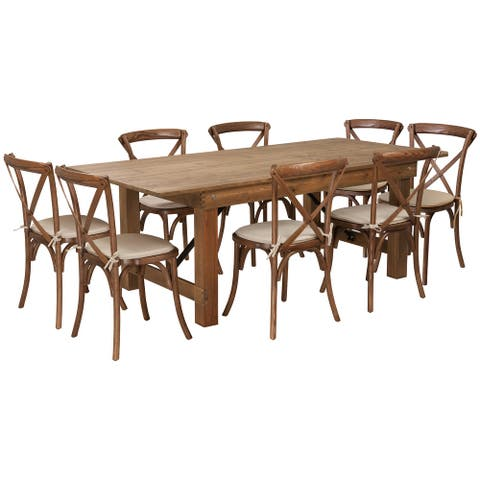 """7' x 40"""" Rustic Folding Farm Table Set with 8 Cross Back Chairs and Cushions"""