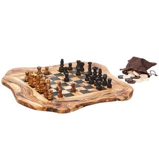 "Real Olive Wood Chess and Checkers Set - Rough Cut - 15"" x 16"" - Brown"
