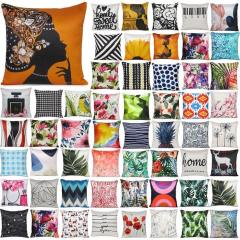 """Oussum Home Decor Cotton Cushion Cover with Zippered Digital Print Pillowcase Single Square for Couch Bed Pillow Case (16""""x16"""")"""