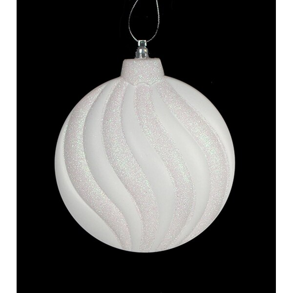 6ct Matte Winter White Glitter Swirl Shatterproof Christmas Disc Ornaments 6.25""
