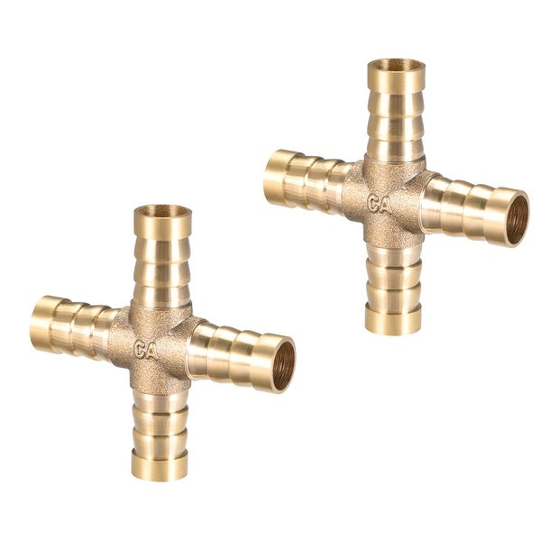 """25/64"""" Brass Barb Hose Fitting 4Way Connector Joiner Hose Barb Connector 2pcs - 10mm 2pcs"""