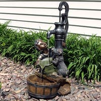Sunnydaze Boy & Dog Drinking from Water Pump Outdoor Garden Fountain 30 Inch