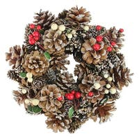 "10.25"" Pine Cones and Berries Artificial Christmas Wreath - Unlit - Brown"