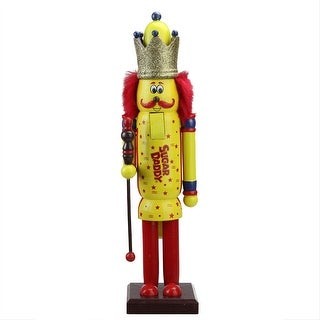 "14"" Decorative Yellow and Red Sugar Daddy King Wooden Christmas Nutcracker Figure"