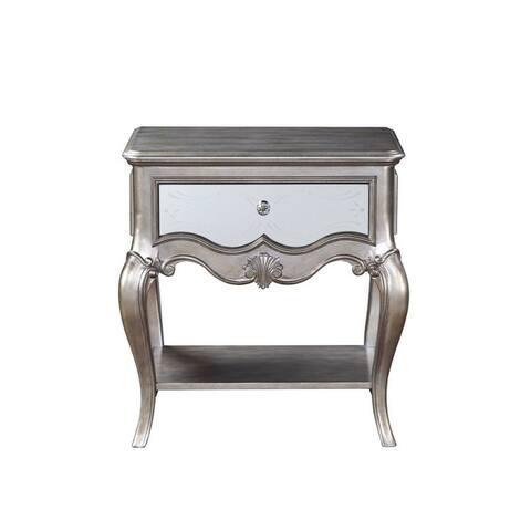 Q-Max 1 Wooden Shelf 1 Drawer Antique Champagne Nightstand