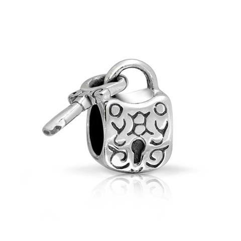 Paris Lover Bridge Pad Lock Key For Bead Charm For Women For Girlfriend 925 Sterling Silver Fits European Bracelet