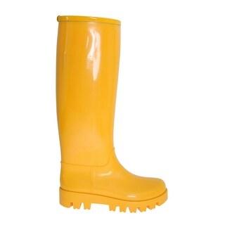 Dolce & Gabbana Yellow Rubber Knee Rain Boots