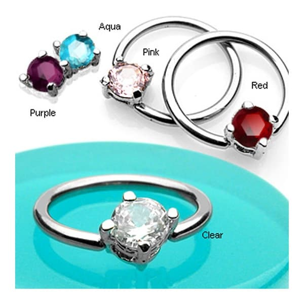 """Surgical Steel Capitve Bead Ring With Solitaire CZ Stone - 14GA 1/2"""" Long (Sold Ind.)"""