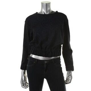 Zara Womens Metallic Long Sleeves Crop Top - M