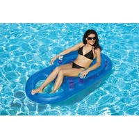 """61"""" Blue Inflatable Swimming Pool Lounger with Dual Drink Holders"""