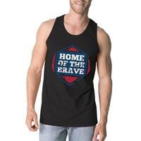 Home Of The Brave Black Cotton Unique Graphic Tank Top For Men