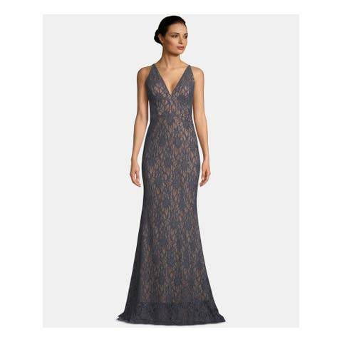 BETSY & ADAM Gray Sleeveless Full-Length Dress 8