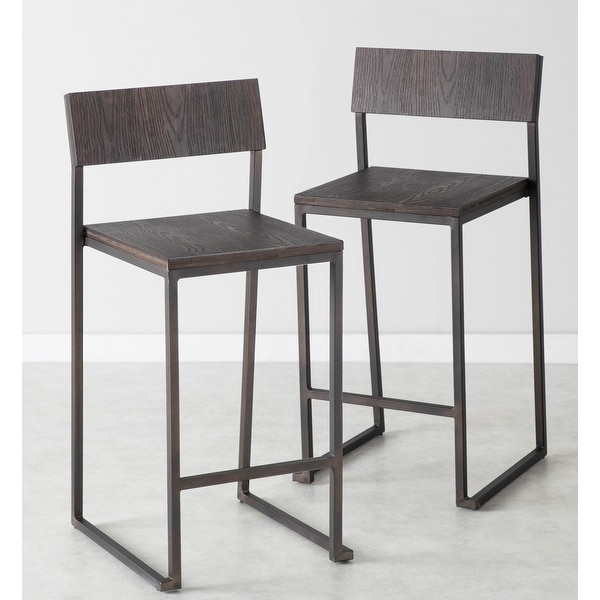 Industrial Fuji Counter Stool in Antique Metal & Espresso Wood (Set of 2) - N/A. Opens flyout.