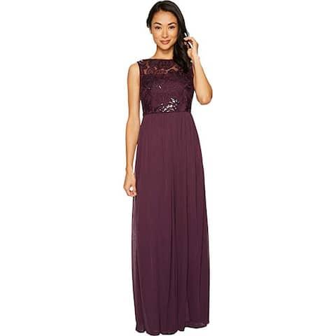 Adrianna Papell Sleeveless Bead/Sequin Bodice Mesh Skirt, Currant, 2