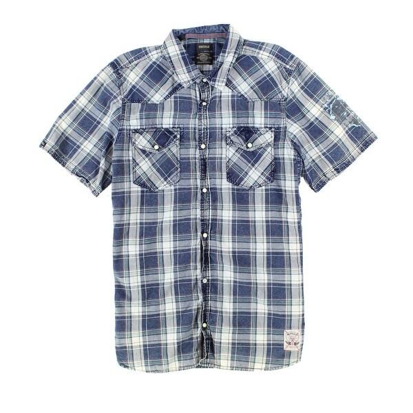 38e5378fd2 Buffalo David Bitton NEW Blue Mens Size XL Plaid Denim Snap-Down Shirt