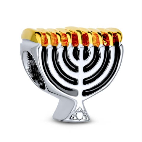 Chanukah Menorah Hanukkah Charm Bead 2 Tone Gold Plated 925 Silver