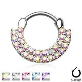 Lined Paved Gems 316L Surgical Steel Round Septum Clicker (Sold Indiv.)