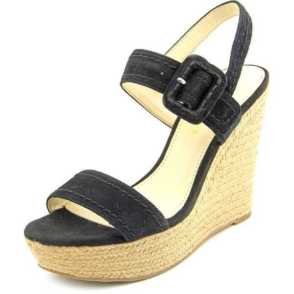 Marc Fisher Hipiee 2 Women Open Toe Suede Black Wedge Sandal