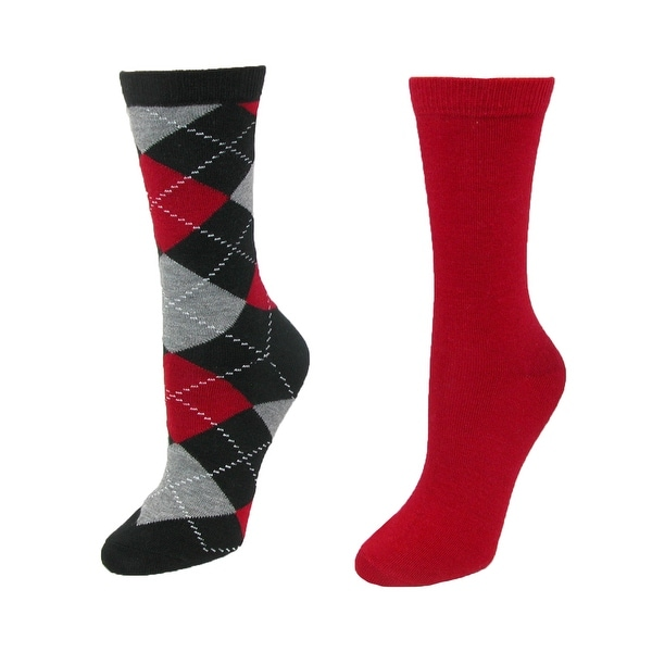 Memoi Women's Cashmere Argyle and Solid Crew Gift Sock Set (Pack of 2)