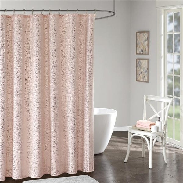 Everly Printed Shower Curtain Blush Gold