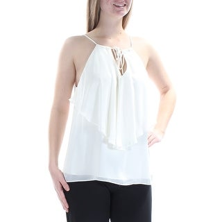 Womens Ivory Spaghetti Strap Halter Cocktail Top Size M