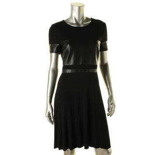 Bailey 44 Womens Faux Leather Trim Knee-Length Party Dress