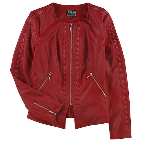 Guess Womens Mae Flirty Faux-Leather Jacket