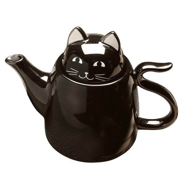 3 Piece Ceramic Black Cat Tea For Two Set - Stackable Kitty Teapot and 2 Teacups - 8 in. x 5.75 in.