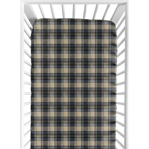 Sweet Jojo Designs Blue and Tan Woodland Plaid Flannel Rustic Patch Collection Fitted Crib Sheet