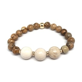 Tan Picture Jasper 'Trinity' stretch bracelet 14k Over Sterling Silver
