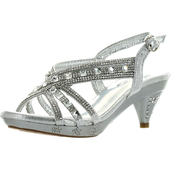 Fabulous Kids Teresa 86K Little Girls Rhinestone Pageant Heels Silver