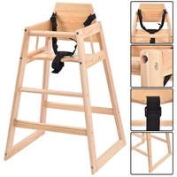 Costway Baby High Chair Wooden Stool Infant Feeding Children Toddler Restaurant Natural (NA)