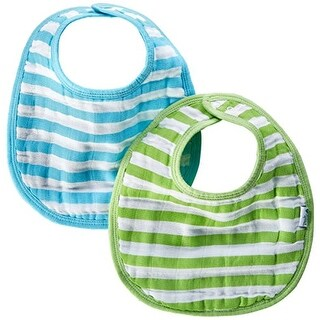 green sprouts Muslin Bibs Made From Organic Cotton,Aqua Stripe Set
