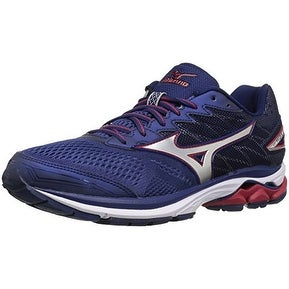 Mizuno Men's Wave Rider 20 Running Shoe, Blue Depths/Silver, 10.5 D US