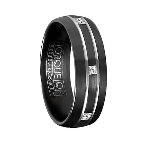 RAYNOR Torque Black Cobalt Brushed Wedding Band Center Diamond Accents with Dual White Grooved Line Design by Crown Ring - 7 mm
