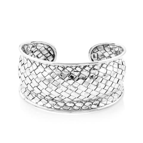 Shop LC 925 Sterling Silver Cuff Bangle Bracelet 7.5 inch - Size 7.50''