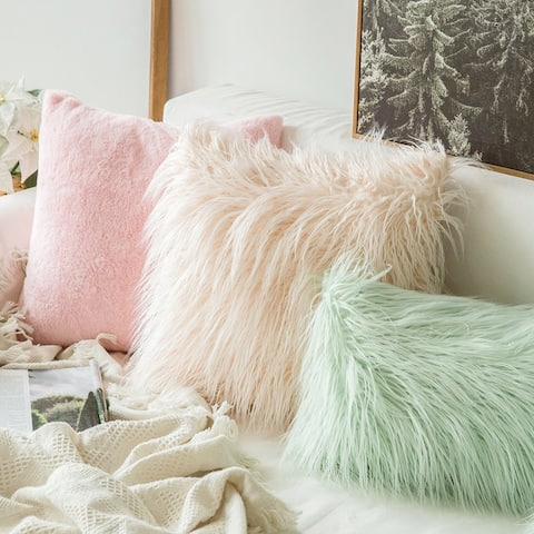 """Faux Fur Shaggy Chic Mongolian Inspired Textured Decorative Throw Pillow cover for Couch or Sofa 18"""" x 18"""""""