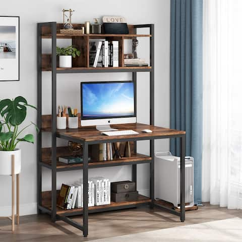 Industrial Office Desk with Hutch & Storage Shelves & CPU Stand
