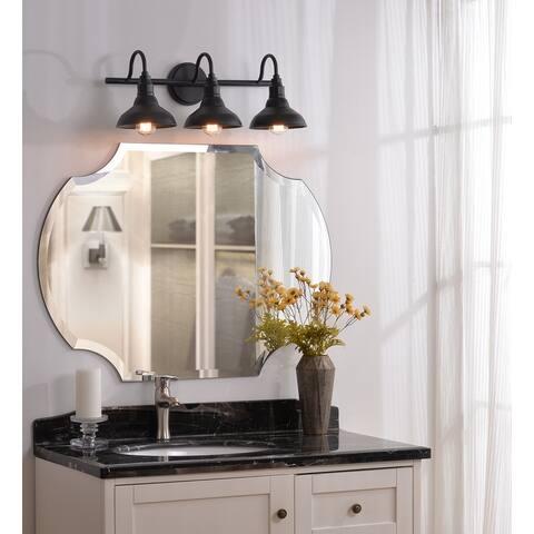 Hoffman Black Finish Industrial 3-light Vanity Light