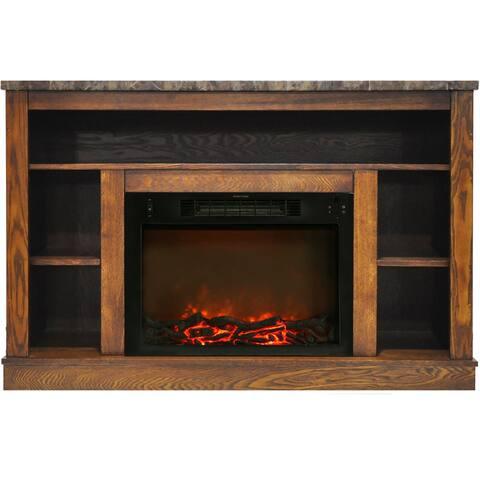 Cambridge Walnut Mantel with Electric Fireplace Insert