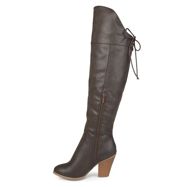 Journee Collection Womens spritz Almond Toe Over Knee Fashion Boots - 11