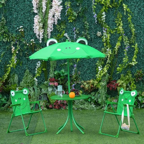 """Outsunny Kids Folding Picnic Table and Chair Set Frog Pattern - 19.75"""" L x 19.75"""" W x 18"""" H"""